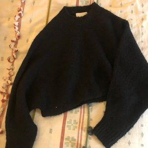 Aritzia cropped black cozy sweater